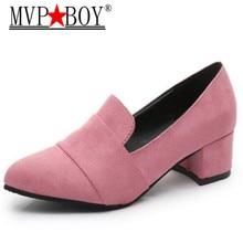 MVP BOY 2018 New Plus Size 35-39 Women Pumps Fashion Sexy Elegant Square Toe High Heel Woman Shoes Black Blue Gray Pink