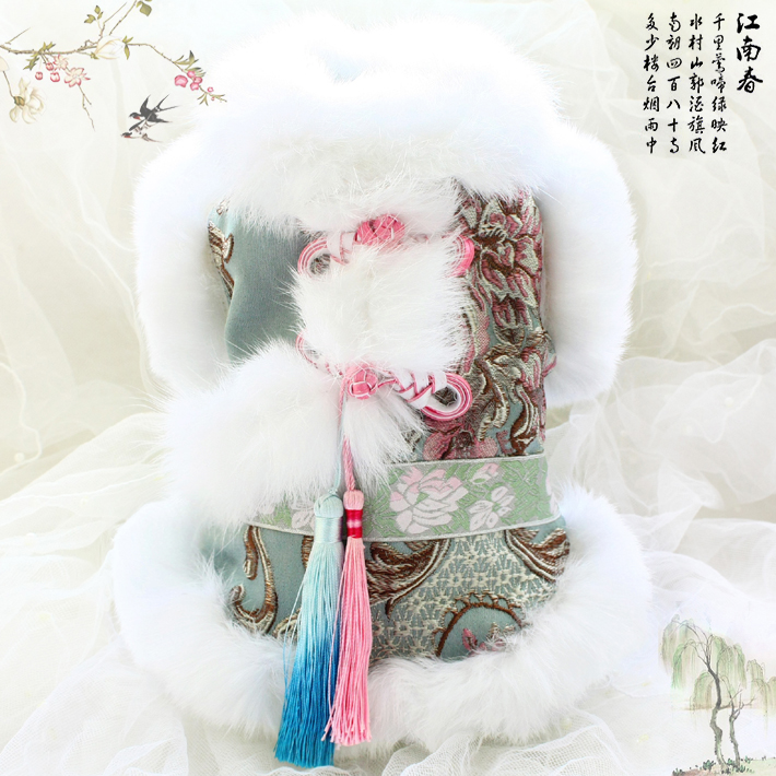 Free shipping high quality handmade dog clothes imitation rabbit hair collar fur brocade pet padded coat fashion Morandi color