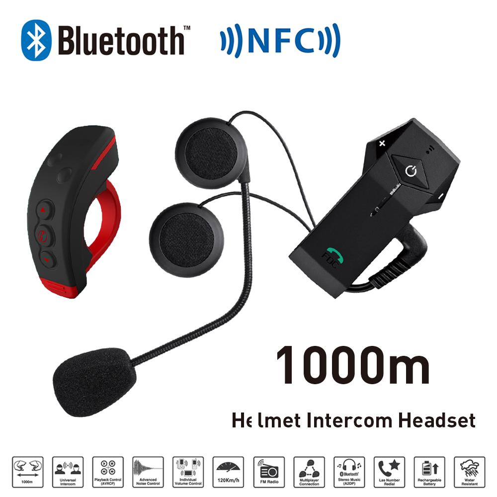 Freedconn Helmet Headset Bluetooth Intercom for Motorcycle BT NFC FM Snowmobile Helmet  Interphone + L3 Remote Control 1000m 2pc freedconn t comvb 800m motobike wireless bt interphone earphones full duplex motocycle bluetooth helmet intercom headset fm