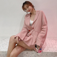 Fashion Double breasted Notched Loose Blazer Jacket Women Casual Thin Summer Suit Coat Solid Female Jackets 2019