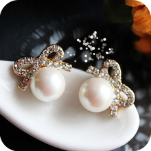 $10 (mix order) Free Shipping Vintage Crystal Bow Pearl Earrings Explosion Models E2189 8g