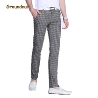Groundnut Brand Good Stretch Plaid Casual Pants Men Long Pant Slim Fit Straight Pencil Trousers 2017