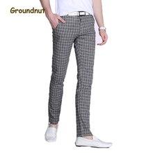 Арахисовое бренд хорошо тянутся в клетку повседневные штаны Для мужчин длинные брюки Slim Fit прямые узкие брюки Новое поступление 2017 года