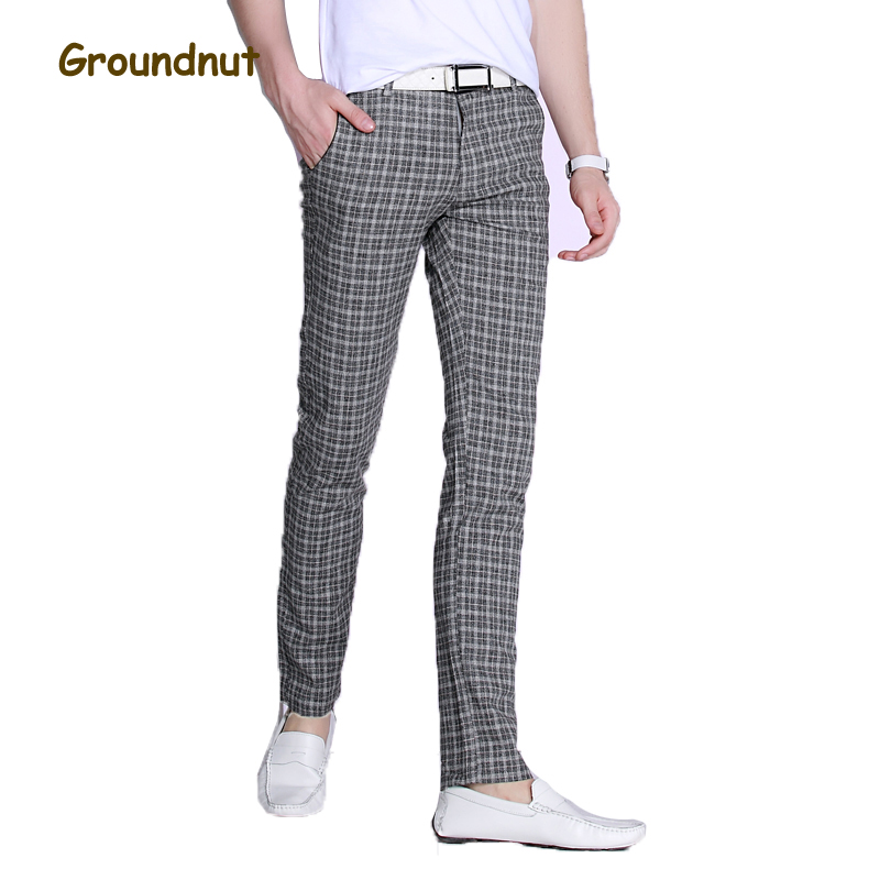 Groundnut Brand Good Stretch Plaid Casual Pants Men Long Pant Slim Fit Straight Pencil Trousers 2019 New Arrival