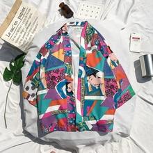 Full Printed Japanese Style Kimono Jacket Men 2018 Summer Three Quarter Sleeve Men's Kimono Jackets