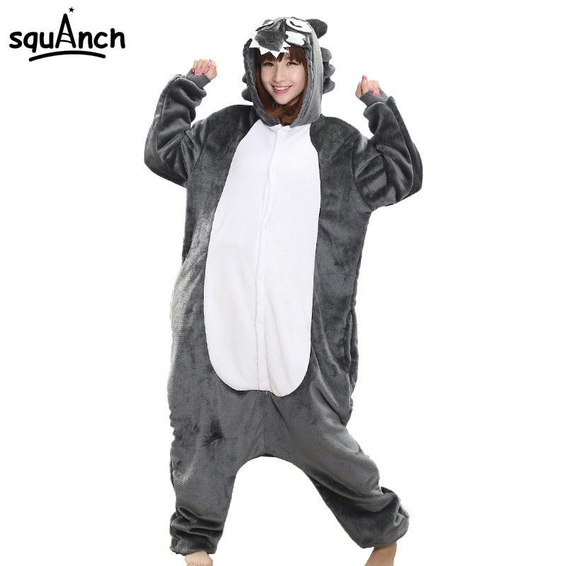 Women Onesie Cartoon Animal Kigurumis Wolf Pajama Unisex Adult Funny Party Suit Winter Warm Sleepsuit Long Suit Casual Fancy
