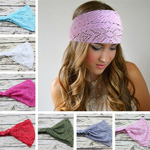 New Lady Lace Headband Women Fashion Stretchy Wide Headwear Turban Breathable Bandanas Hairband