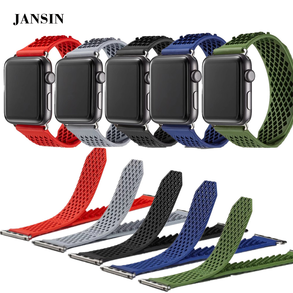 For Apple watch bands 38mm/42mm Soft Silicone replacement sports watch strap for iWatch Series 1/2/3 without buckle wristbands wristband silicone bands for apple watch 42mm sport strap replacement for iwatch band 38mm classic stainless steel buckle clock