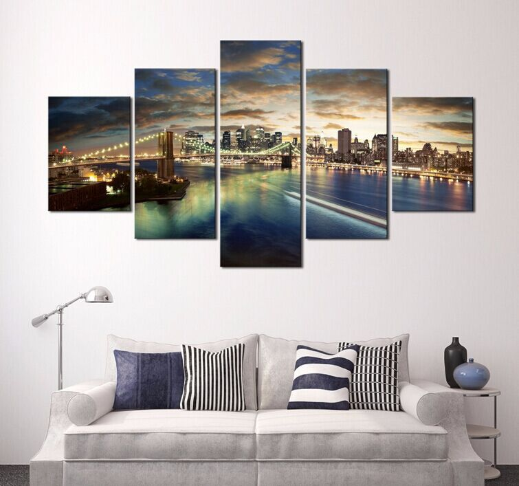 5 Panels The Urban Architecture Night Modern Decor Canvas Art HD Print Painting Modular High Quality Pictures  YH-093