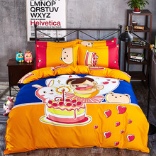 Cartoon Christmas Elk Striped Star Style 4pcs Bedding Set Contain Duvet Cover Bed Sheet Pillowcase Bedclothes