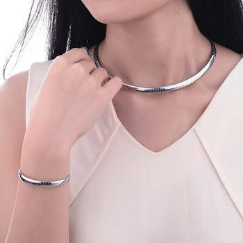 BAOYAN 316L Bright Gold Sliver Matel Snake Choker Collar Necklaces Jewellery Set for Women Torque 1