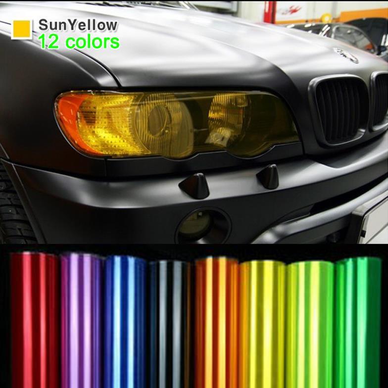 30 см * 9 м/один рулон Блестящий авто стайлинг фары задние фонари полупрозрачная Плёнки огни 12 Цвет глянцевая матовая Наклейки для автомобиля