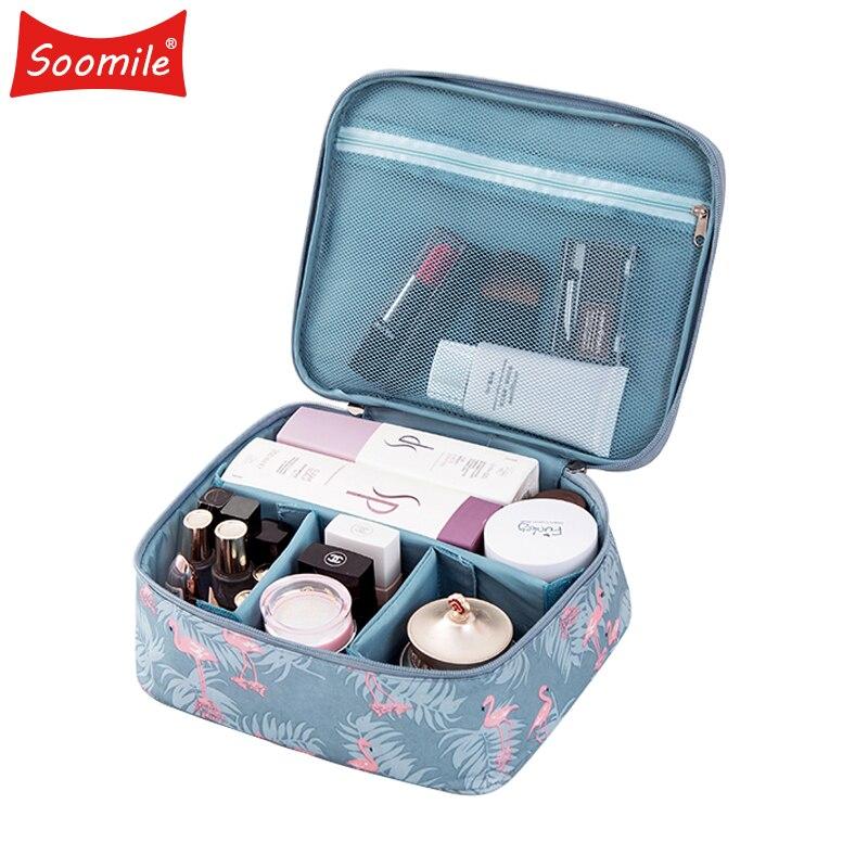 Soomile Brand Flamingo Series Travel Portable Cosmetic Bag DIY Organizer Makeup Bag For Women make up Men Shaving Kit