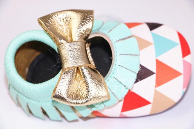 1 par de varejo Novo triângulo mary jane crianças sapatos de Couro genuíno Handmade sola macia arco borla Mocassins bebê menino menina Bebê sapatos