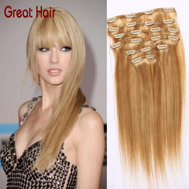 Summer Style Brazilian Clip In Human Real Hair Extensions 8inch