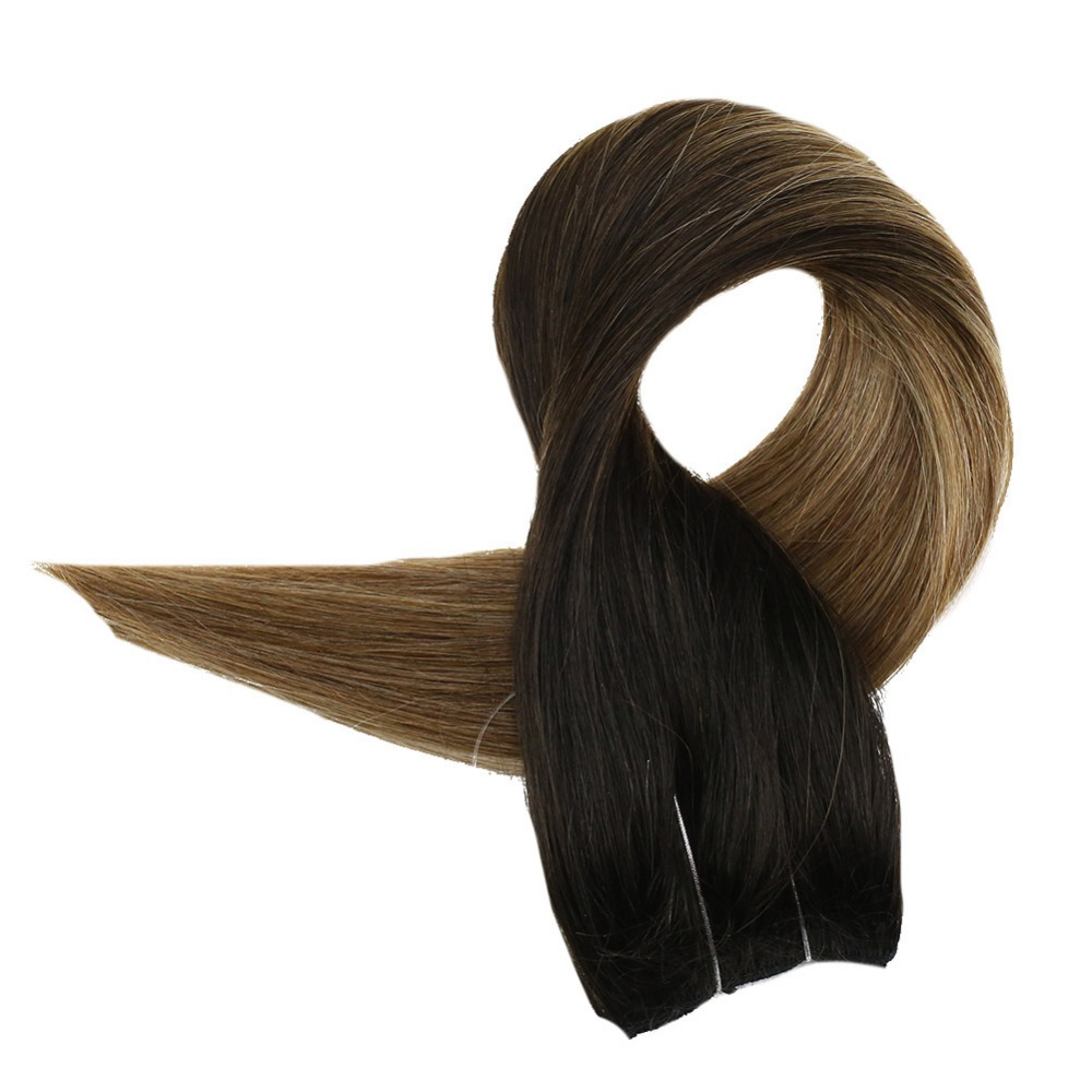 Fish Line Hair Extensions Color #1B/6/27 Balayage Hair Bundles One Piece Wire Hair Hair On A Wire 100% Human Hair Full Shine