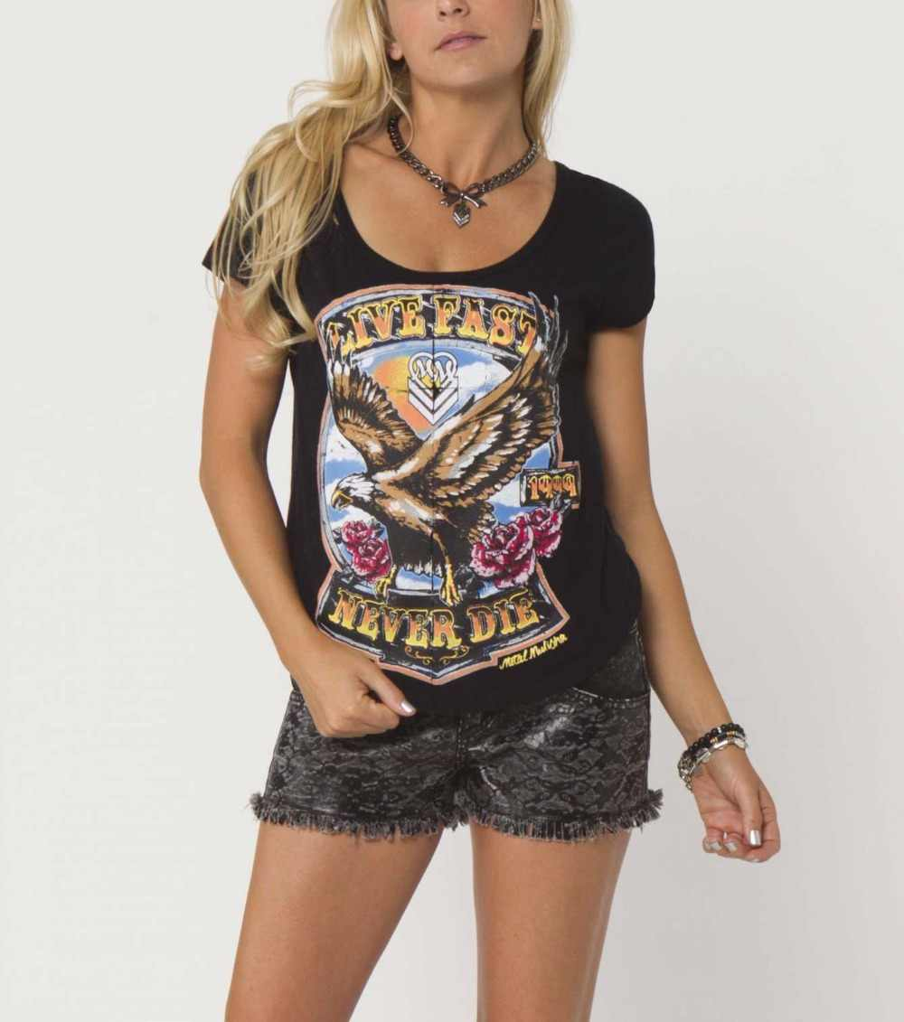 Women's Heavy Metal Motorcycle  Eagle Crop Top  T-Shirt USA Size XS-XL(Ripped Style)