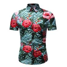 Floral Hawaiian Shirt Men's clothing Social Blouse Men Slim Mens dress Shirts Flower Short sleeve Summer flower leaf feather floral shirt men dress slim long sleeve mens shirts casual blouse men hawaiian style blue grey summer