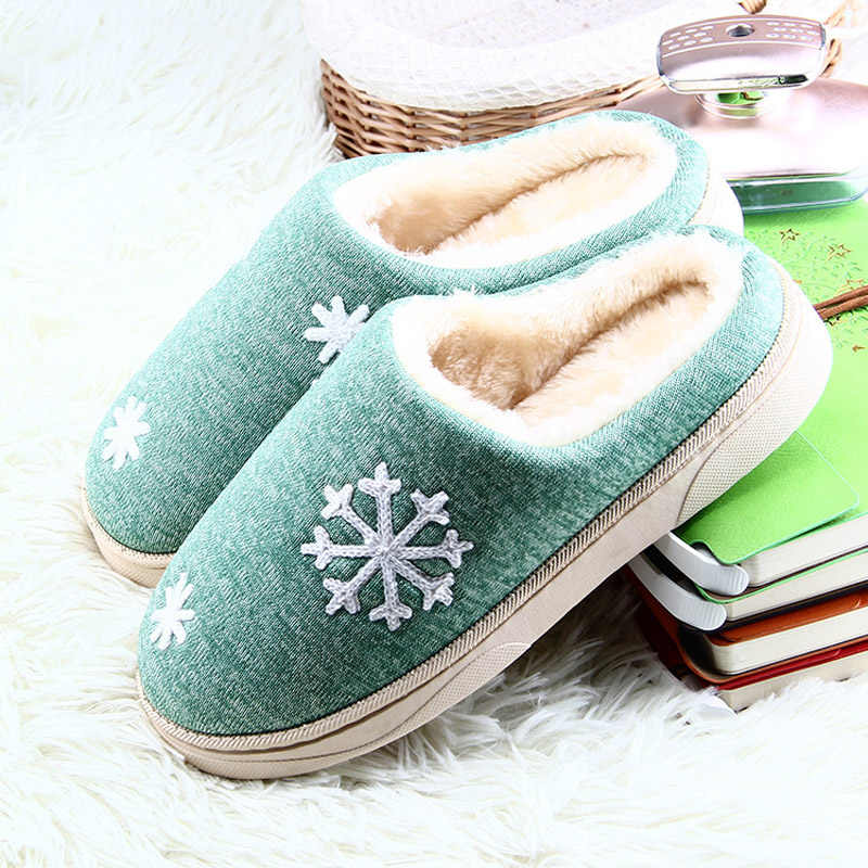 Women Winter Indoor Slippers Short Plush Print Unisex Home Warm Flat Shoes Woman Slip On Faux Fur Home Cotton Slipper Footwear