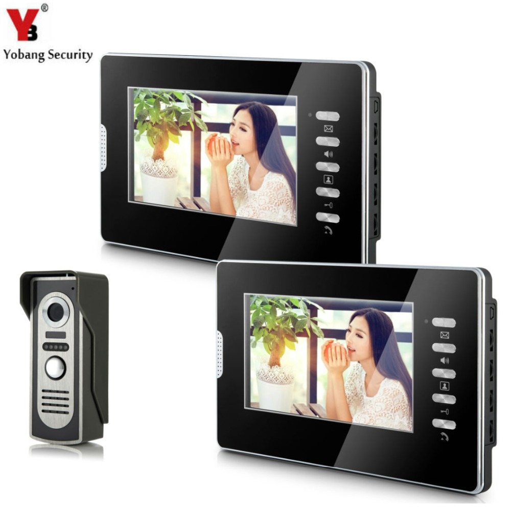 YobangSecurity Wired 7Inch Monitor Video Intercom Doorbell Door Phone Video Intercom Entry Access System 1 Camera 2 Monitor