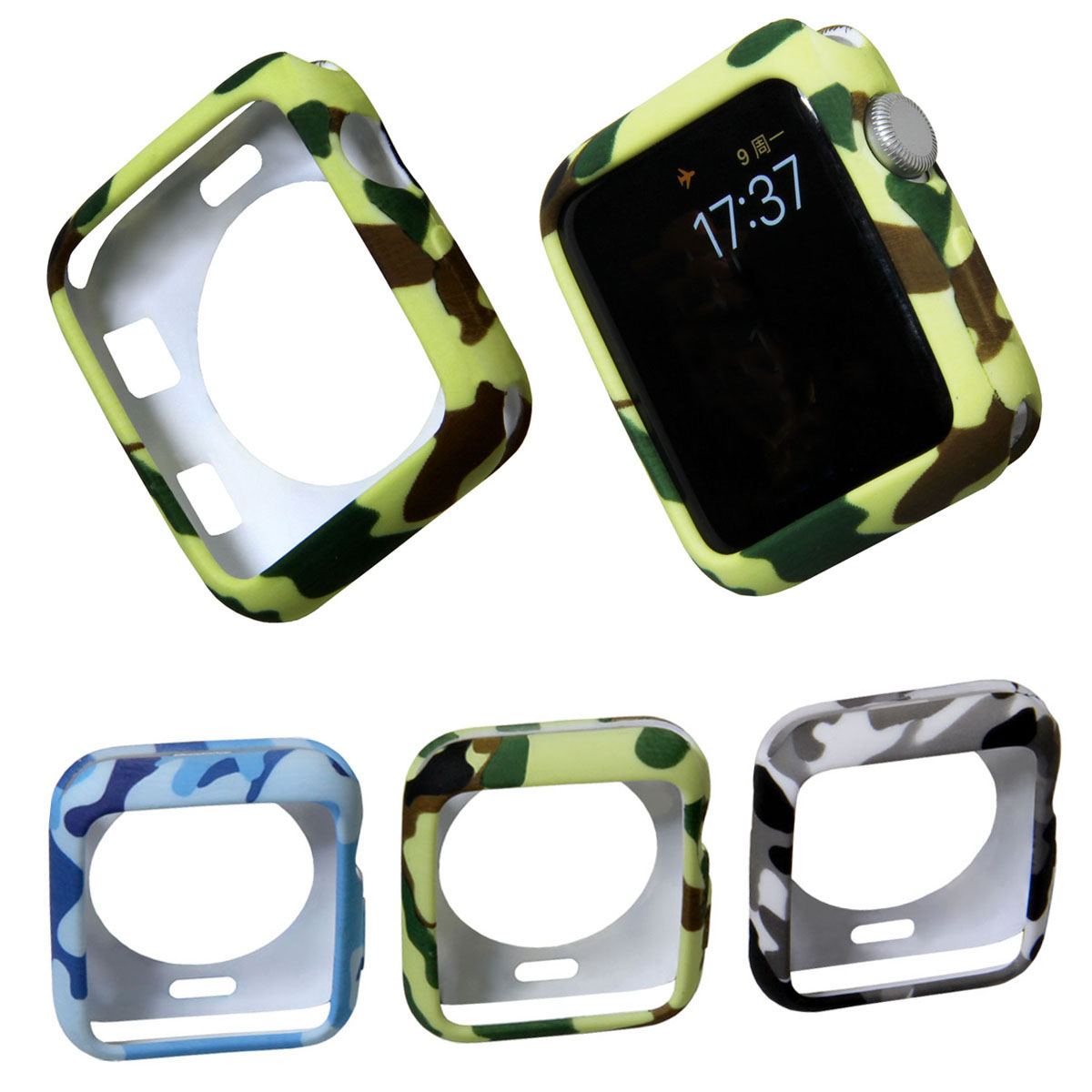 Cover for Apple Watch Series 3 2 1 38mm 42mm Case Protector Camouflage Soft Silicone Full Case for iWatch Accessories