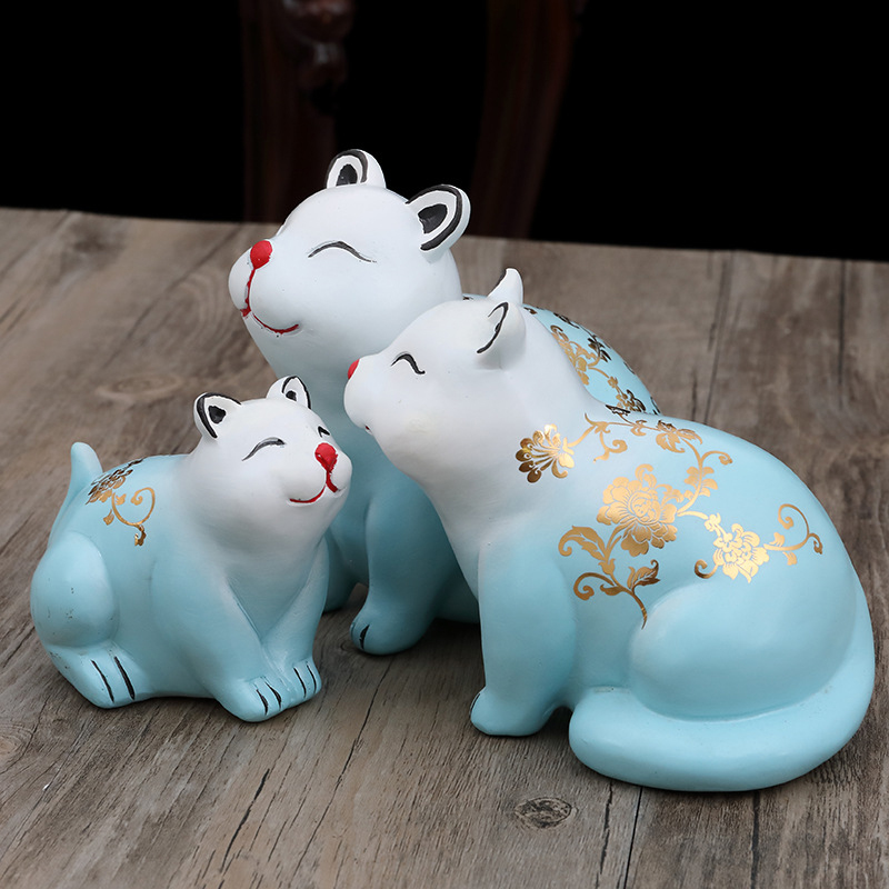 3PC Cute Rabbit Family Resin Model Figurine Miniatures Cartoon Rabbit Family Home Desktop Decoration Accessories Birthday Gift in Figurines Miniatures from Home Garden