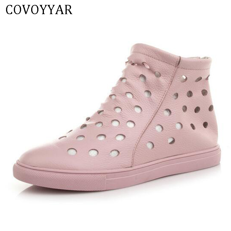 COVOYYAR 2018 Women Casual Shoes Summer Cut Out Flat Perforated Sneakers High Top Genuine Leather Lady Shoes Ankle Boots WSN213 green cut out halter half sleeves casual top