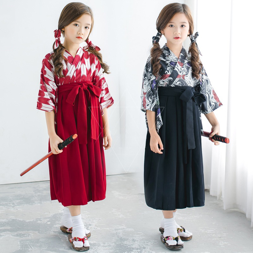 Teenager Girls Floral Dress Cosplay Costumes Sakura Kimono 4PCs Bathrobe Samurai Yukata Japanese Dresses for Princess Girls