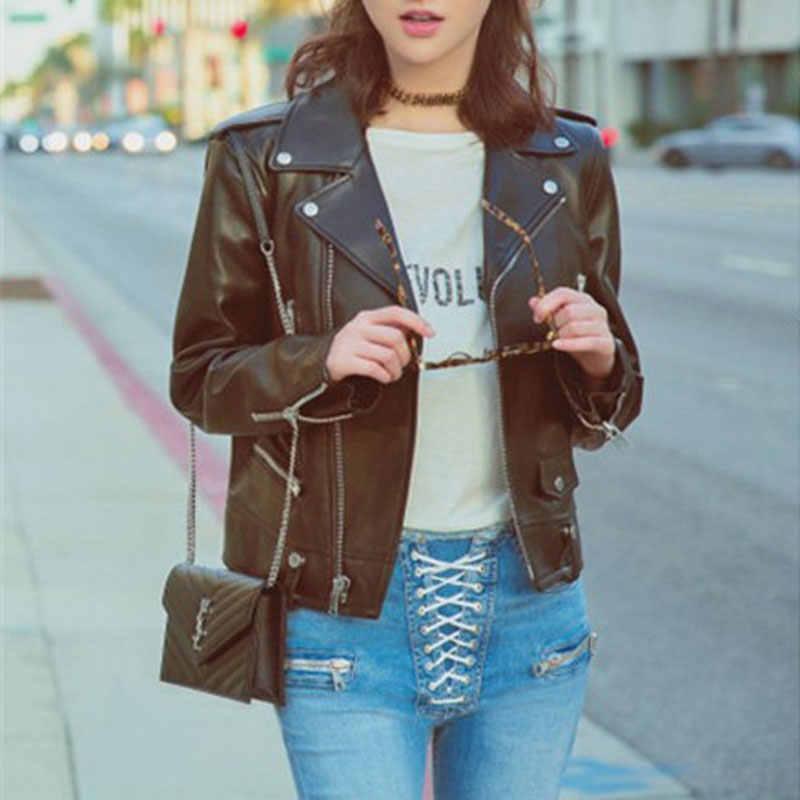 873bfdb51 Faux Leather Jacket Women Moto Biker Leather Jackets Zip Coats chaqueta  Blazer PU Jack jaqueta couro blouson cuir femme casaco