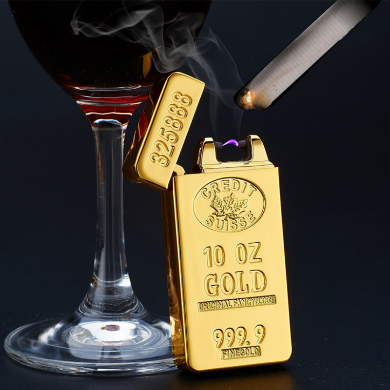 New Luxury Gold Arc Pulse Ligther USB Charge Electronic Cigarette Lighters Flameless Windproof Electric Lighter Man Gift sigara
