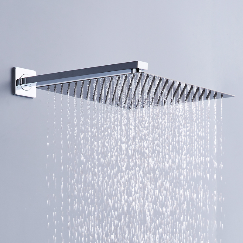 BAKALA 16  Stainless Steel Shower Head With Arm Wall Mounted Ultra thin Rain Shower Heads With 35cm Shower Arm free shipping 1 piece free shipping anodizing aluminium amplifiers black wall mounted distribution case 80x234x250mm