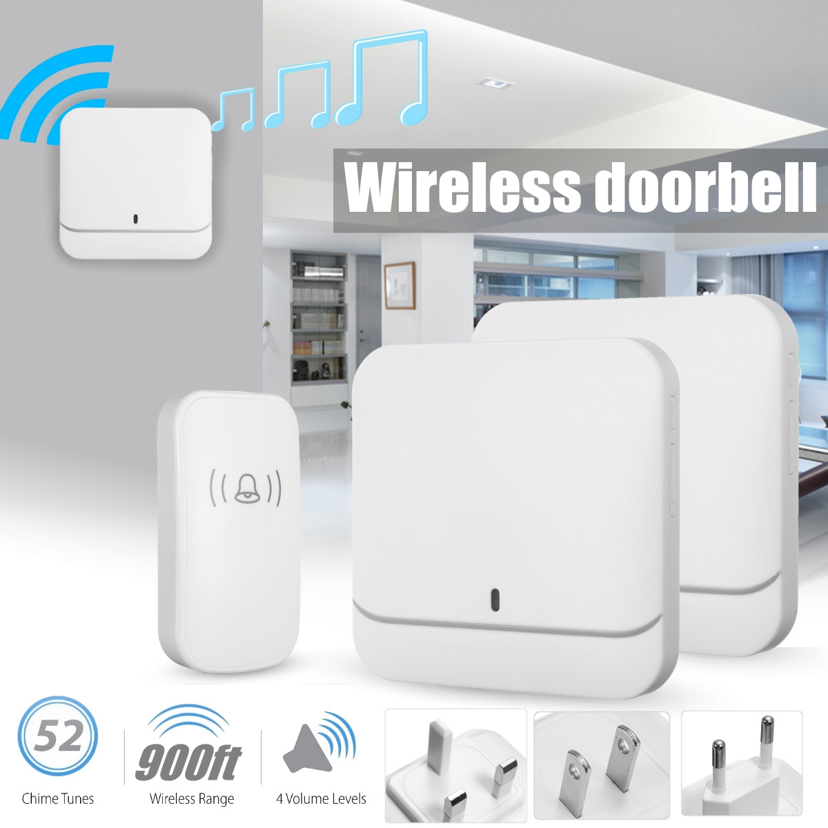 New Wireless Doorbell Waterproof 900ft Remote EU UK US Plug smart Door Bell Chime battery 1 button 2 receiver ACNew Wireless Doorbell Waterproof 900ft Remote EU UK US Plug smart Door Bell Chime battery 1 button 2 receiver AC