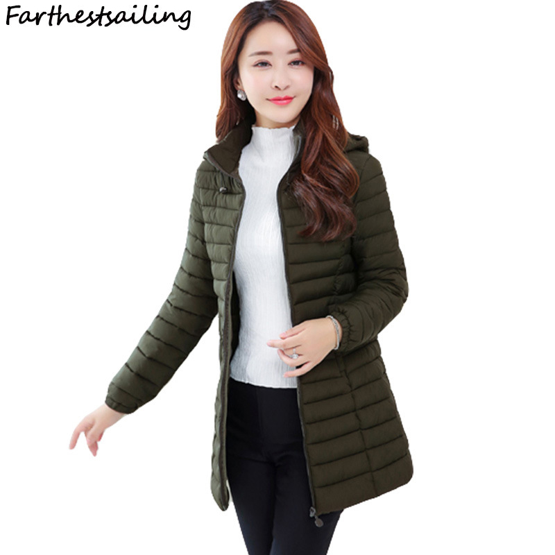 Winter Jacket Women Ultra Light Plus   Parkas   2018 Autumn New Casual Ladies Padded Long Outerwear Women's Thin Cotton Quilted Coat