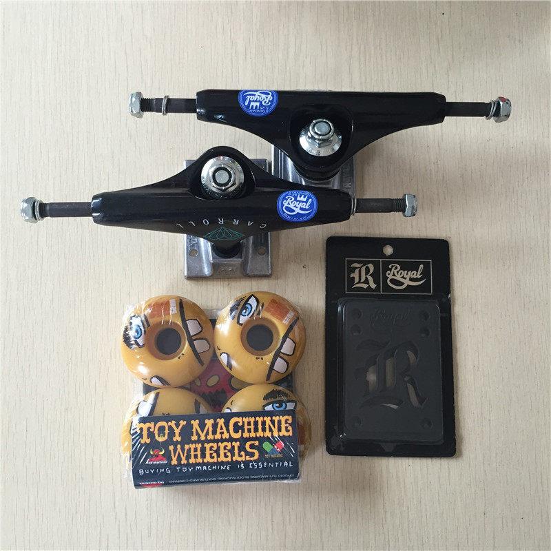 2016 Free Shipping Skateboard Parts Royal Aluminum 5.25 Skate Trucks And Toy Machine PU Skate Wheels with Royal Riser Pads peny skateboard wheels longboard 22 retro mini skate trucks fish long board cruiser complete tablas de skate pp women men skull