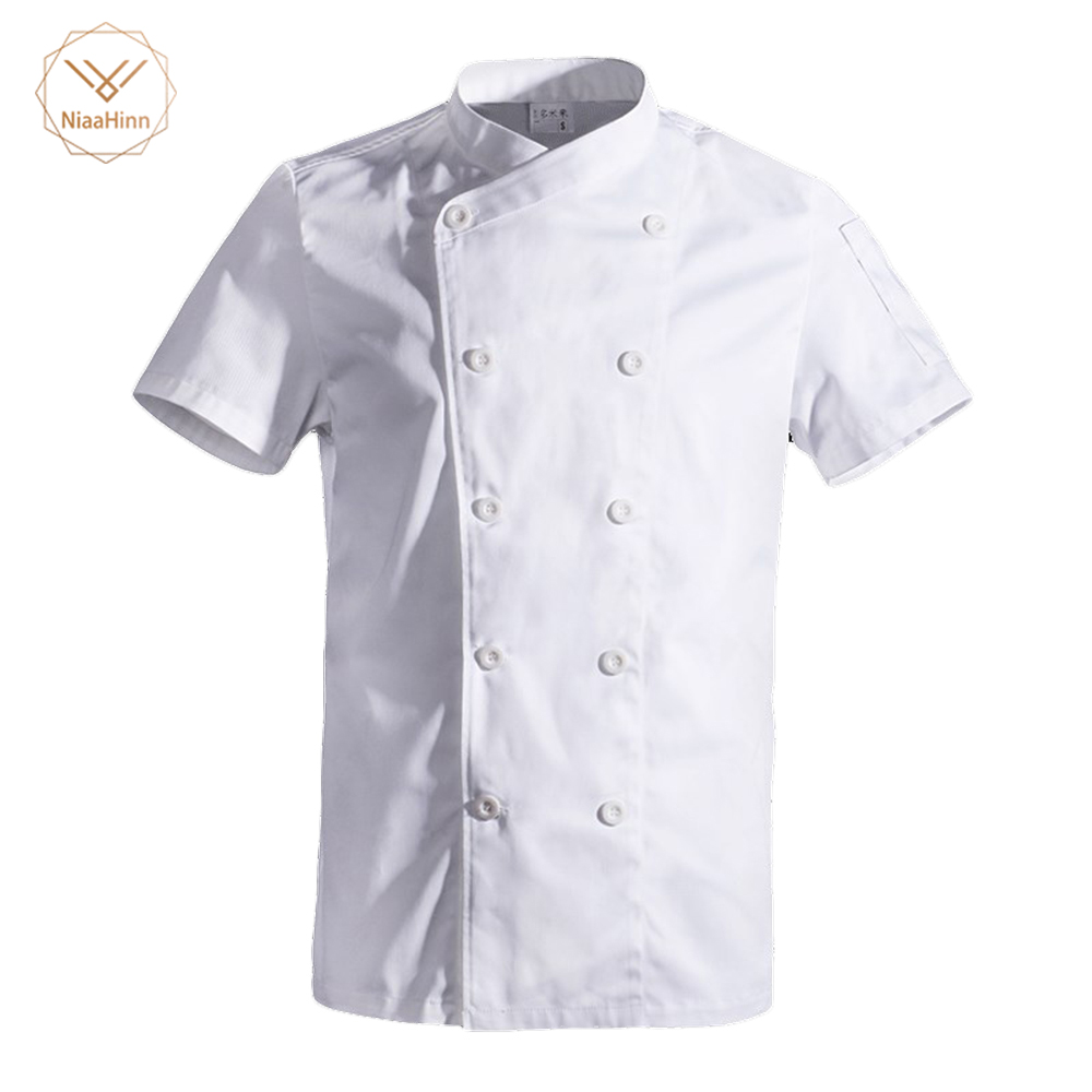 Wholesale Black White Unisex Kitchen Chef Uniform Short Sleeve Double Breasted Cook Wear Chef Jacket Hotel Uniform Food Service