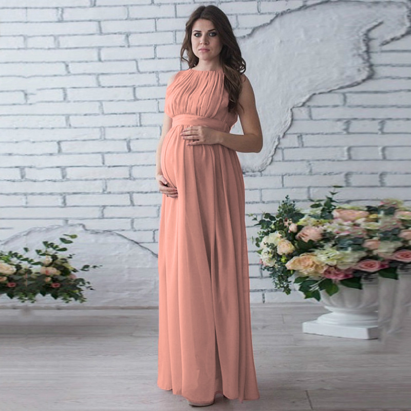 Fashion Maternity Pregnancy Dress Photography Prop Sleeveless Maternity Dresses For Photo Shooting Plus Size Maxi Maternity Gown plus size funnel collar maxi asymmetric hoodie