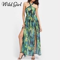 Glamaker Halter Flower Print Summer Dress Women High Split Long Beach Dress Vestidos Female Loose Sundress