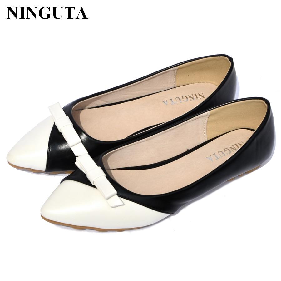 2016 Zapatos white Moda black Arco 43 Beige Libre Dedo Ballet Planos Del Nueva 34 Pie Envío Mujeres Punto rWA0Uqrfx