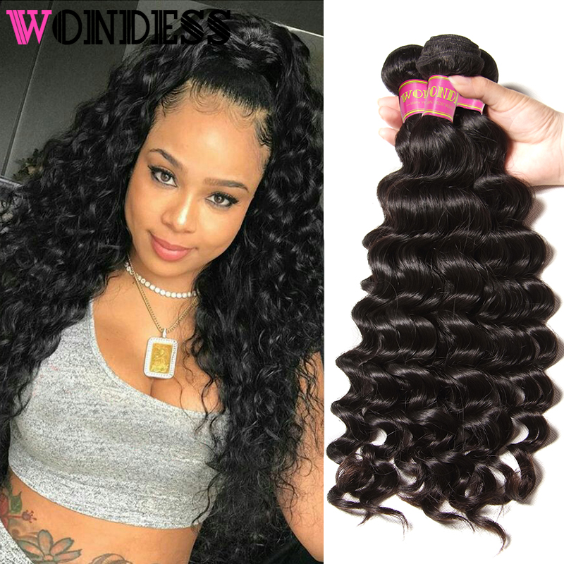 Wondess Hair Natural Wave Bundles 3 Pieces Malaysian Weaving Natural Color Virgin Hair 8-26inch Wet and Wavy Human Hair