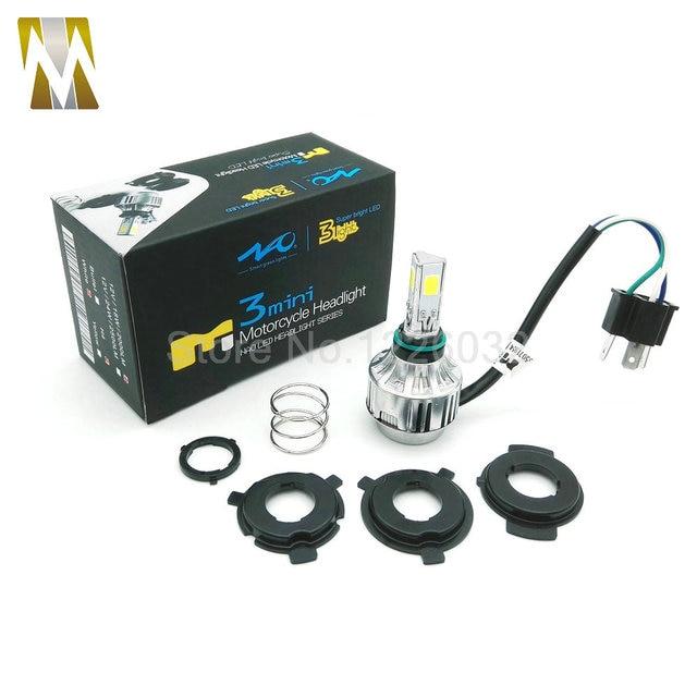New Mini Motorcycle 12v H4 Hi Lo beam COB Moto LED Headlight Fit Most Motorbike LED lamps Conversion Kit Bulbs 2000LM