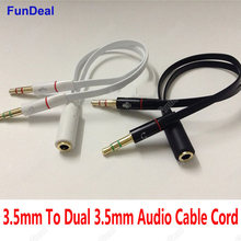 3.5mm stereo mini jack 1 Female to 2 male Headphone Earphone Audio Cable Micphone Y Splitter Adapter Connected Cord to Laptop PC(China)