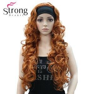 Image 1 - Długi WavyBrow n syntetyczne z pałąkiem na głowę peruka damska 3/4 peruki z pałąkiem na głowę kobiety pełna peruki kolorowe wybór
