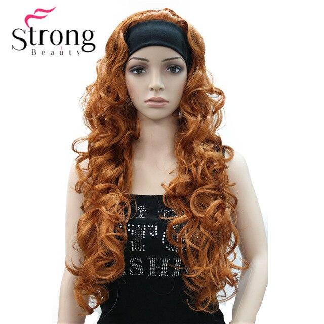 Długi WavyBrow n syntetyczne z pałąkiem na głowę peruka damska 3/4 peruki z pałąkiem na głowę kobiety pełna peruki kolorowe wybór