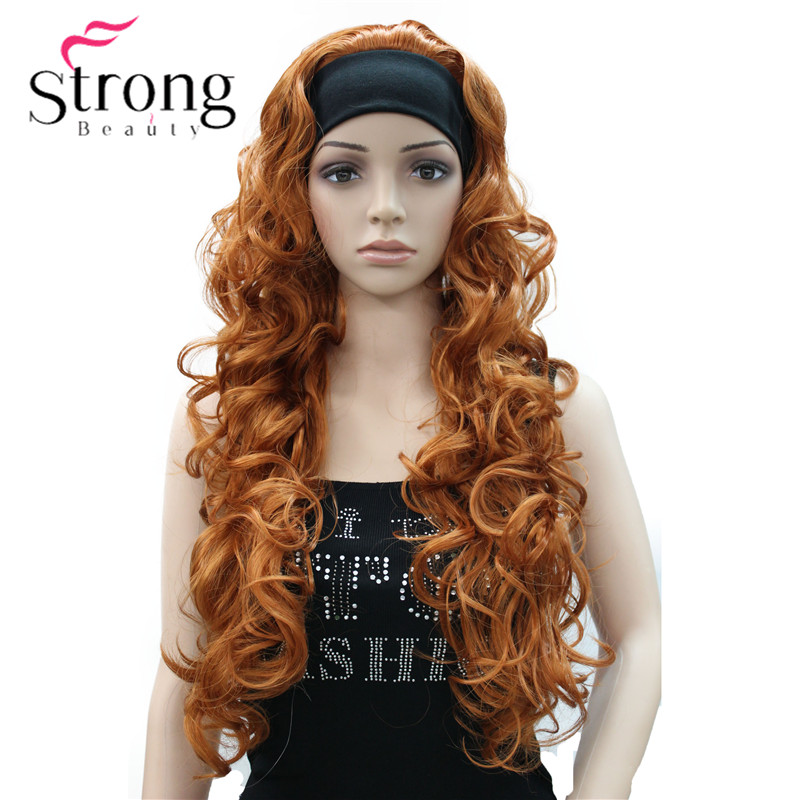 Long WavyBrow n Synthetic HeadBand Wig Ladies 3/4 Wigs With headband Women Full Wigs COLOUR CHOICES-in Synthetic None-Lace  Wigs from Hair Extensions & Wigs