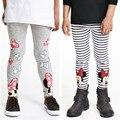 Novo listrado meninas leggings calças de algodão meninas roupas de impressão cinza calças da menina roupa de crianças