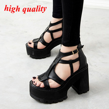 Гладиатор женская обувь на высоких каблуках черные сандалии летом sandalia сальто альт сандалии для женщин платформы панк сандалии Y853