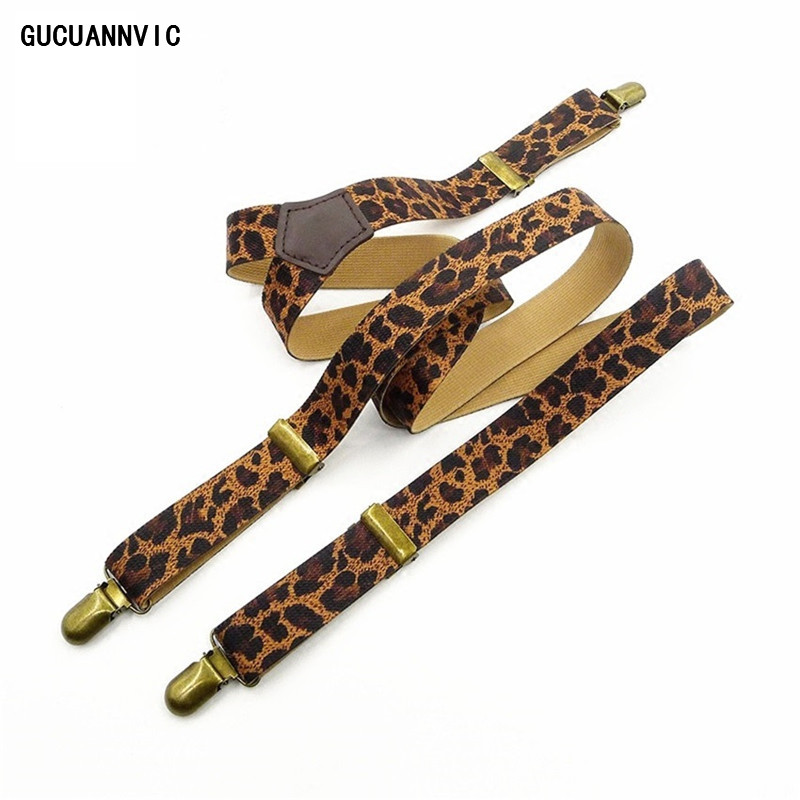 Personal Leopard Print Leather Accessories ELASTIC SUSPENDERS Women Bronze Clip Optional Trim Clip Fashion Leisure Braces