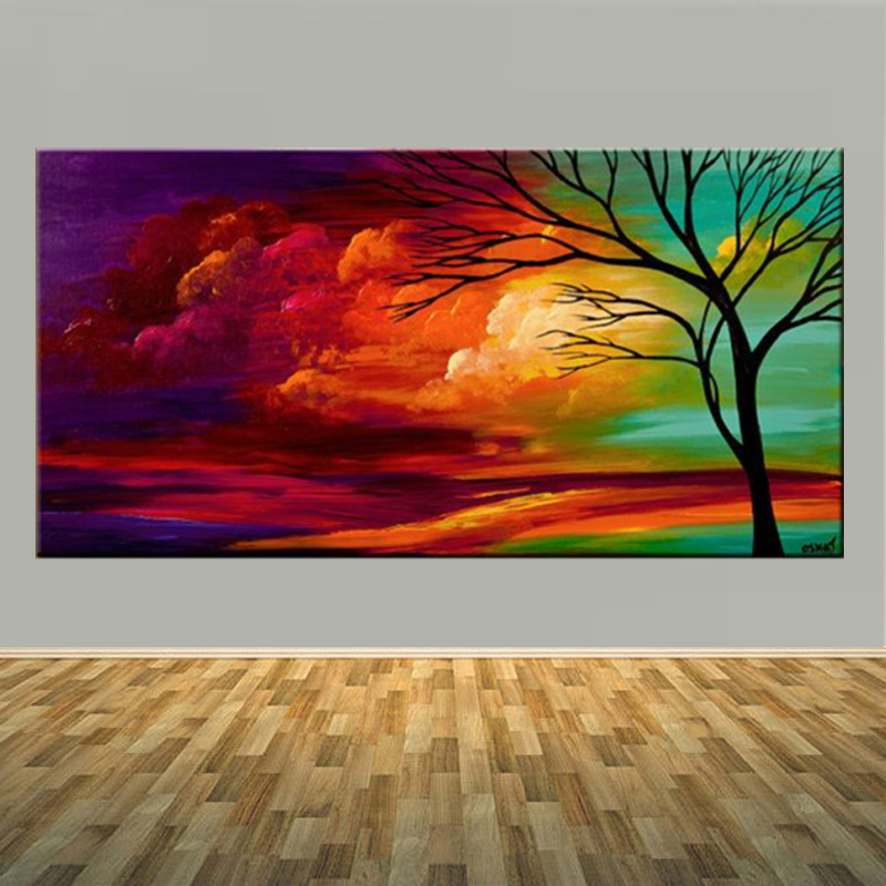 Large Handmade Abstract Landscape Tree Oil Paints Unique Modern Abstract Colorful Cloud Oil