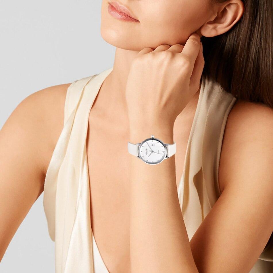 ONLYOU mode montre femmes strass dames nouvelle montre bracelet diamant véritable bracelet en cuir robe horloge populaire marque fille-in Montres femme from Montres    2