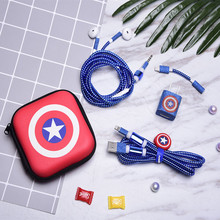 Cartoon USB Cable Earphone Protector Set With Earphone Box Cable Winder Stickers Spiral Cord Protector For iphone 5 6 7 8plus cartoon usb cable earphone protector set with earphone box cable winder stickers spiral cord protector for iphone 5s 6 6s 7